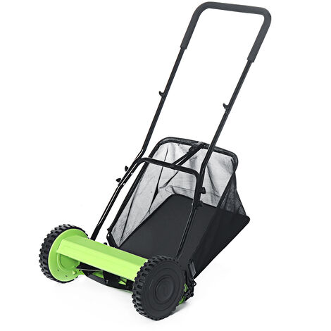 Garden Manual Reel Grass Catch Tool Machine Lawnmower Hand Push Lawn Mower 16inch Green+Black