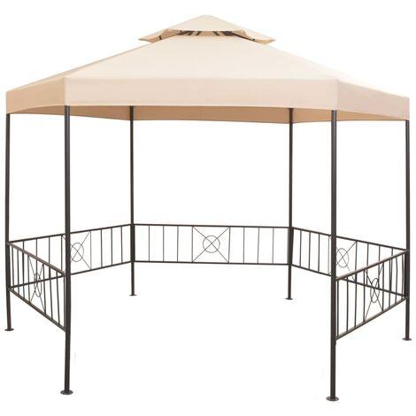 Garden Marquee Gazebo Pavilion Tent Hexagonal Beige 323x265 cm