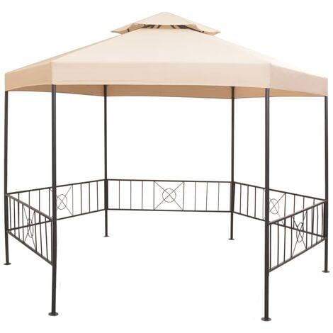 Garden Marquee Gazebo Pavilion Tent Hexagonal Beige 323x265 cm - Beige
