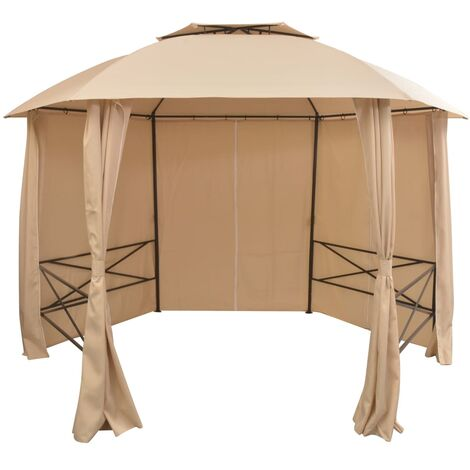 Garden Marquee Pavilion Tent with Curtains Hexagonal 360x265 cm - Beige