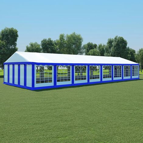 Garden Marquee PVC 6x16 m Blue and White - Blue