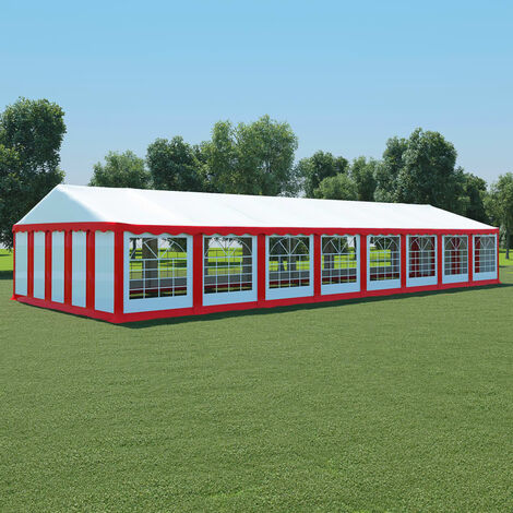 Garden Marquee PVC 6x16 m Red and White