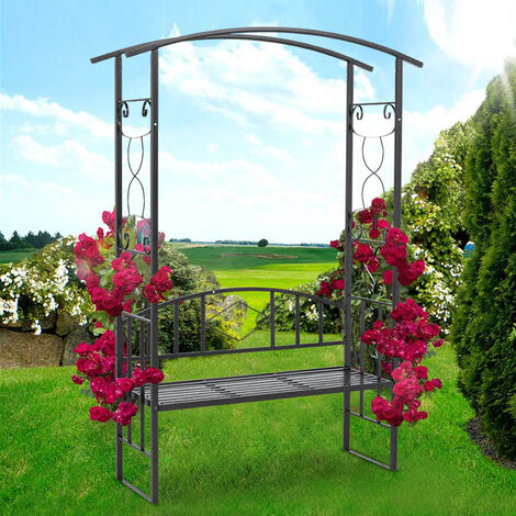 """main image of """"Garden Metal Arch Gate with 2 Seater Bench Plant Climbing Trellis"""""""