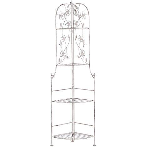 "main image of ""Garden Metal Corner Ladder Shelf White Indoor Outdoor Bathroom Biella"""