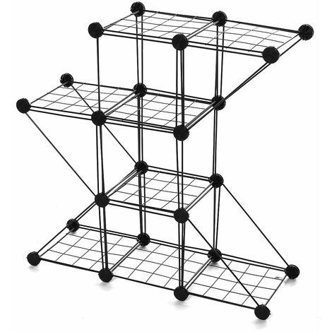 Garden metal stand flower pot plant stand (3 grids 4 corners)