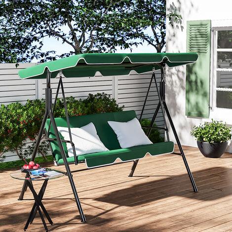 Garden Metal Swing Chair 3 Seater Hammock Adjustable Canopy Bench, Beige
