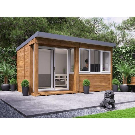 Garden Office Helena Left - Insulated Home Office Studio Pod Study Room Double Glazing Toughened Glass