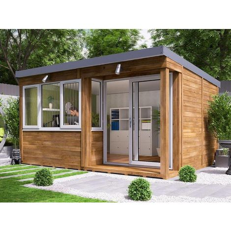 Garden Office Helena Right - Insulated Home Office Studio Pod Study Room Double Glazing Toughened Glass