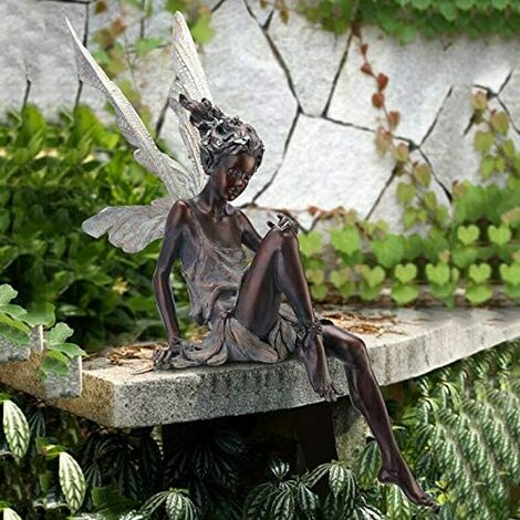 Garden Ornament Sitting Magical Fairy, Tudor and Turek Sitting Resin Garden Decoration 9 * 12 * 22cm