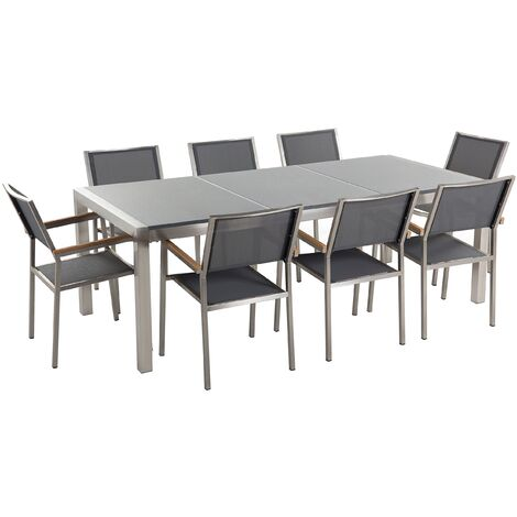 Garden Outdoor Dining Set Grey Granite Tabletop 8 Grey Chairs Grosseto
