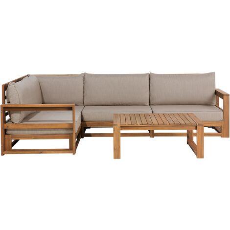Garden Outdoor Set Sofa 5 Piece Acacia Wood Grey Polyester Cushions Timor