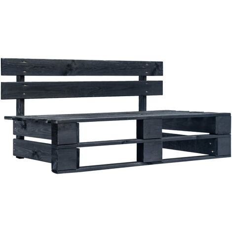 Garden Pallet Bench Wood Black