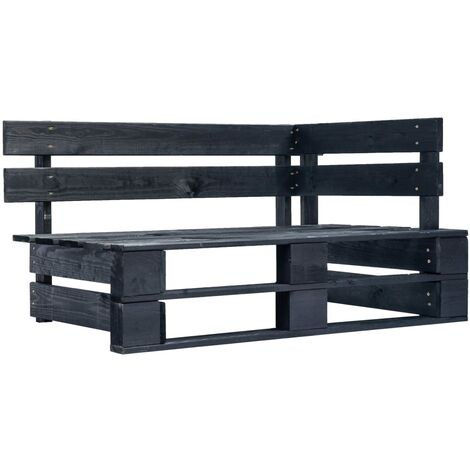 Garden Pallet Corner Bench Wood Black