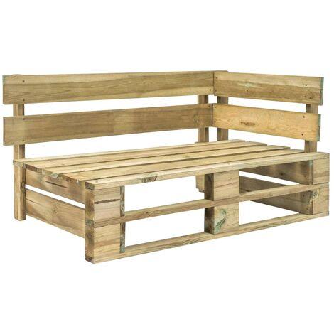 Garden Pallet Corner Bench Wood - Brown