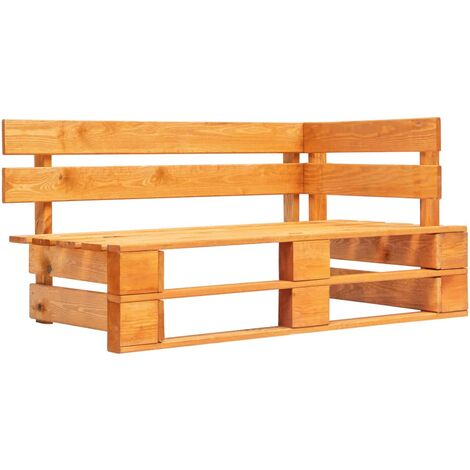 Garden Pallet Corner Bench Wood Honey Brown