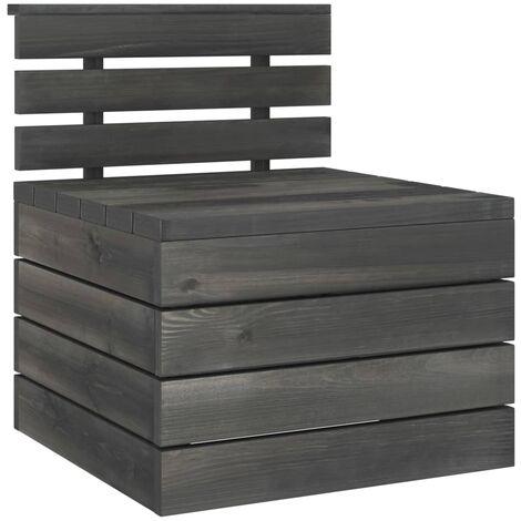 Garden Pallet Middle Sofa Solid Pinewood Dark Grey