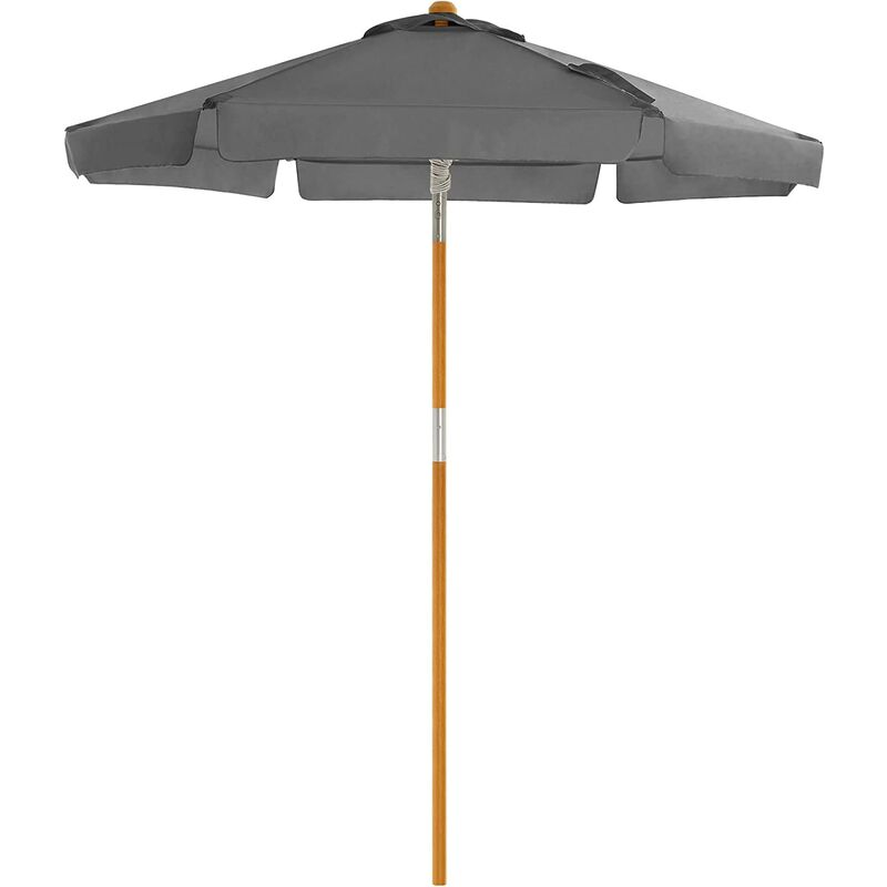 Songmics - Garden Parasol 2 m, Wooden Patio Parasol Umbrella, Sunshade with UPF 50+ Protection, Wooden Pole and Ribs, Tilt, Base Not Included, for