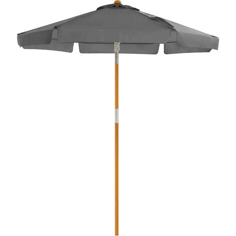 Garden Parasol 2 m, Wooden Patio Parasol Umbrella, Sunshade with UPF 50+ Protection, Wooden Pole and Ribs, Tilt, Base Not Included, for Outdoor Balcony Terrace, Grey GPU201G01 - Grey