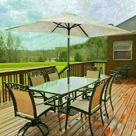 Garden Parasol 3x2m Outdoor Patio Umbrella Sun Shade Canopy Crank Tilt UV protection - Beige