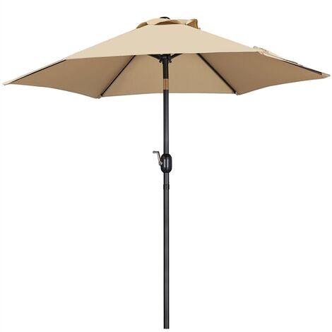 Garden Parasol 7.5ft Patio Umbrella Ourdoor Market Table Umbrella with Tilt & Crank System & 6 Ribs