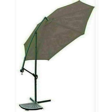 Garden Parasol Sun Shade Patio Banana Cantilever Hanging Umbrella 3m Brown
