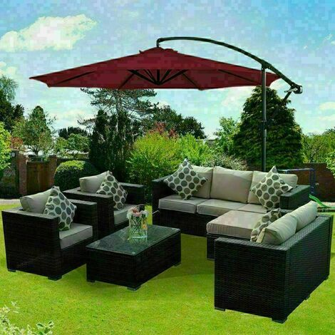 Garden Parasol Sun Shade Patio Banana Cantilever Hanging Umbrella 3m Wine Red