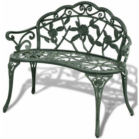 Garden Patio Bench Outdoor Chair Park Seat Cast Aluminium 2-seater Green/White