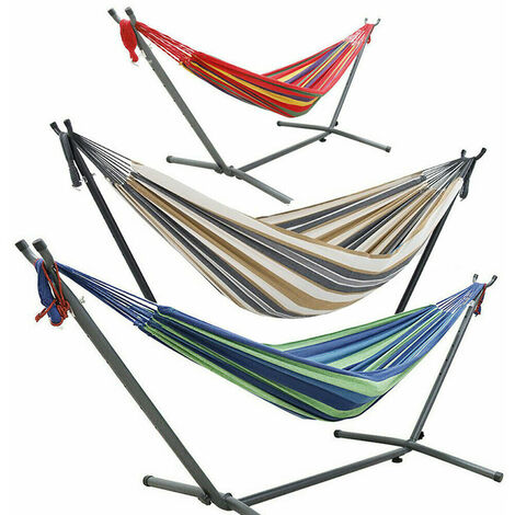 """main image of """"Garden Patio Free Stand Hammock With Frame Outdoor Summer Swinging Travel Chairs - Different colours"""""""