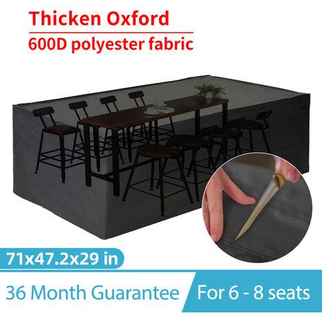 "main image of ""Garden Patio Furniture Cover Oxford Polyester Rectangular Waterproof w/ Bag 180*120*74cm Black"""