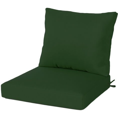 Garden Patio High Rebound Foam Seat+Back Cushion Set With Ties