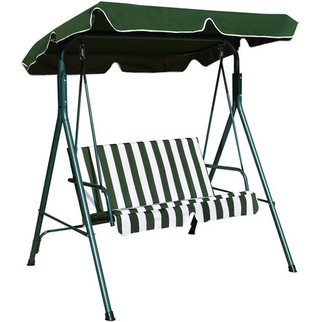 GARDEN PATIO METAL SWING CHAIR SEAT 2 SEATER HAMMOCK BENCH SWINGING CUSHIONED Green