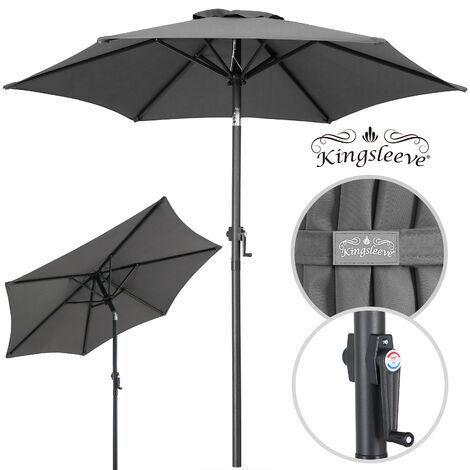 Garden Patio Sun Parasol Aluminium Crank Sun Umbrella Blue Beige 2 m Sun Shade