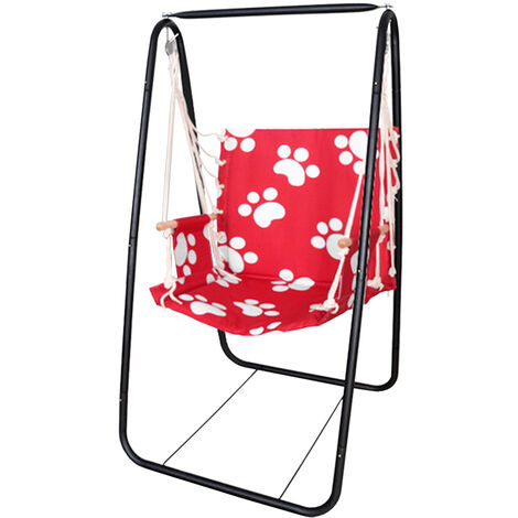 Garden Patio Swing Cotton Rope Chair Hanging Hammock Iron Rack Stand Red