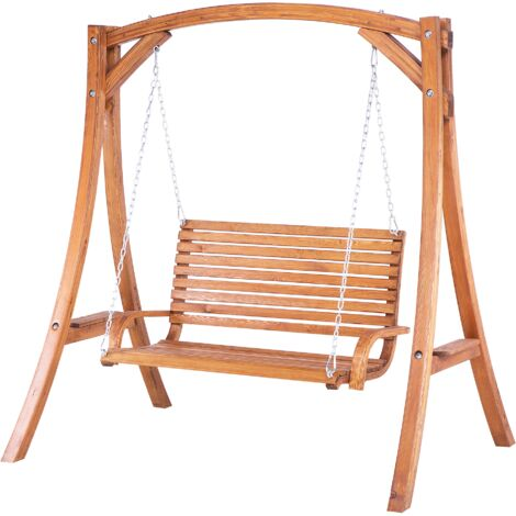 Garden Patio Swing for 2 Larch Wood Brown Novara