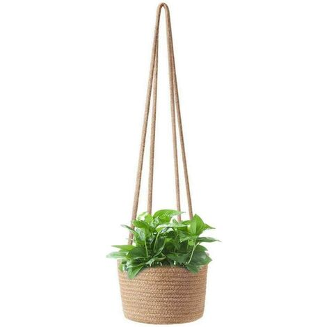 Garden Plant Cinkers Rope Suspending Planter Woven Planter Basket Decorative Basket Flower Pot Decorative for Home Decoration (Color: 02)