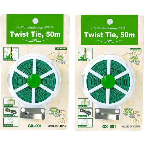 Garden Plant Ties Plant Wire Ties Multifunctional Plant Support Tie with Cut for Home Gardening Organization 2 Rolls 100m (Green)