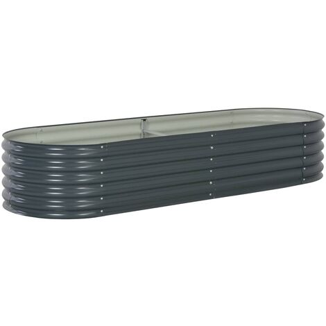 Garden Planter 240x80x44 cm Galvanised Steel Grey