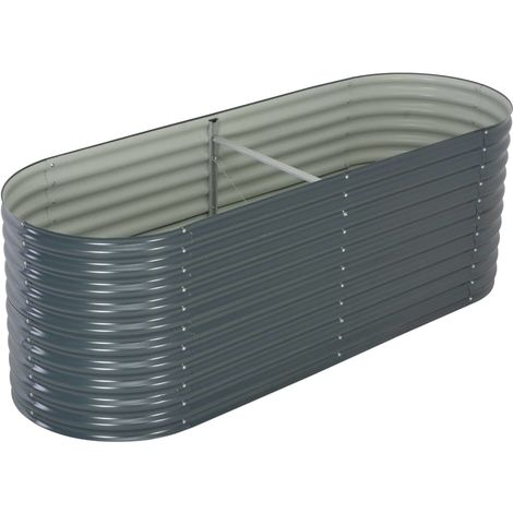 Garden Planter 240x80x81 cm Galvanised Steel Grey