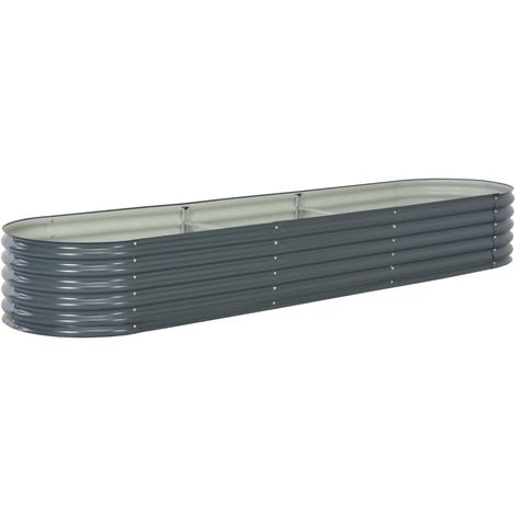 Garden Planter 320x80x44 cm Galvanised Steel Grey