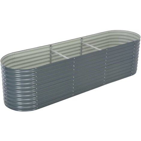 Garden Planter 320x80x81 cm Galvanised Steel Grey