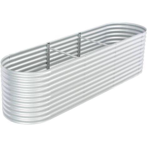 Garden Planter 320x80x81 cm Galvanised Steel Silver