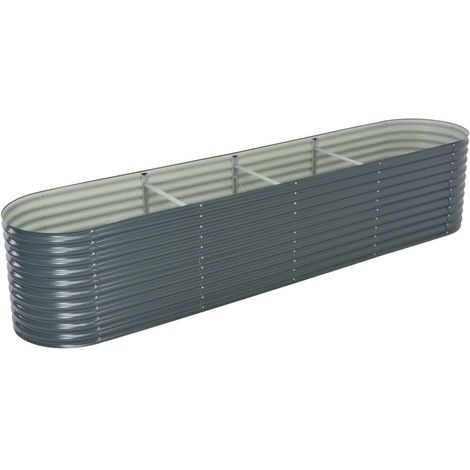 Garden Planter 400x80x81 cm Galvanised Steel Grey