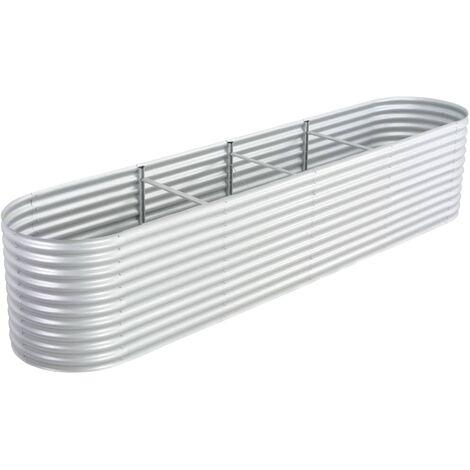 Garden Planter 400x80x81 cm Galvanised Steel Silver