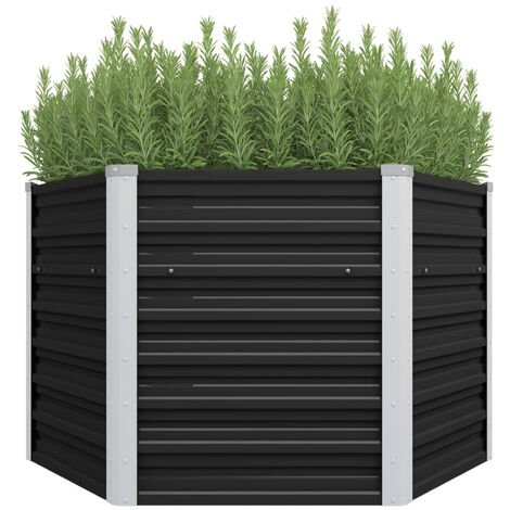 Garden Planter Anthracite 129x129x77 cm Galvanised Steel