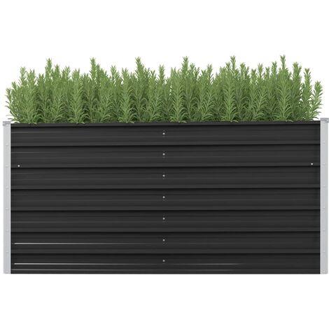 Garden Planter Anthracite 160x40x77 cm Galvanised Steel