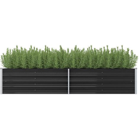 Garden Planter Anthracite 240x80x45 cm Galvanised Steel