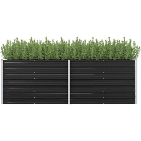Garden Planter Anthracite 240x80x77 cm Galvanised Steel