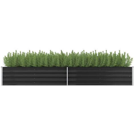 Garden Planter Anthracite 320x80x45 cm Galvanised Steel