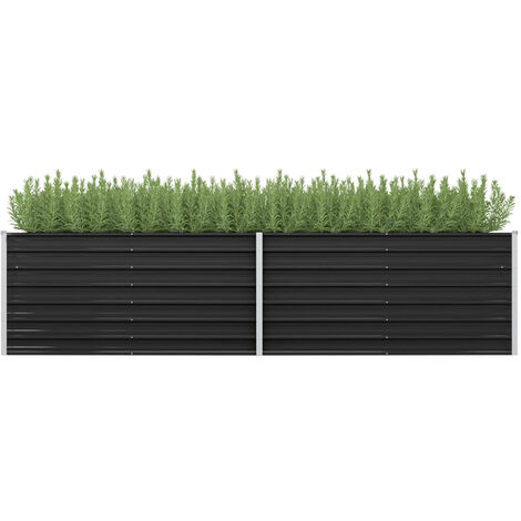Garden Planter Anthracite 320x80x77 cm Galvanised Steel