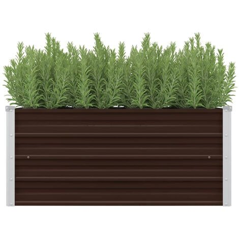 Garden Planter Brown 100x40x45 cm Galvanised Steel